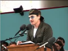 WE'VE GOT TO FOLLOW THROUGH ON OUR IDEALS OR BETRAY SOMETHING AT THE HEART OF WHO WE ARE... - Bono (U2) BONO, at Harvard University addresses the class on African relief, American ideals, and rebelling against indifference. (Photo and link courtesy of Berklee College of Music and Harvard Magazine.)Bono supports DataData.org  [MORE]
